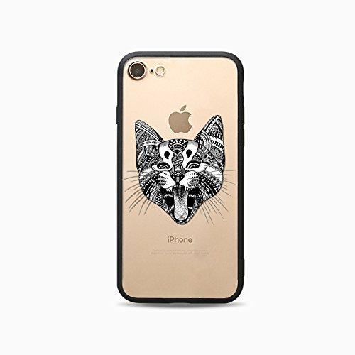 Coque iPhone 7 Plus Housse étui-Case Transparent Liquid Crystal Les animaux en TPU Silicone Clair,Protection Ultra Mince Premium,Coque Prime pour iPhone 7 Plus-Le loup-style 2 5