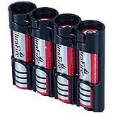 Black : Storacell By Powerpax SlimLine 18650 Battery Caddy, Black, Holds 4 Batteries