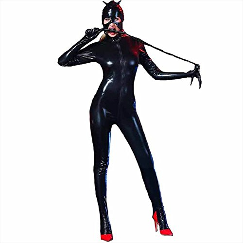 gerie Leder Teddy Catsuit Open Crotch (Günstige Catwoman Kostüme Erwachsene)