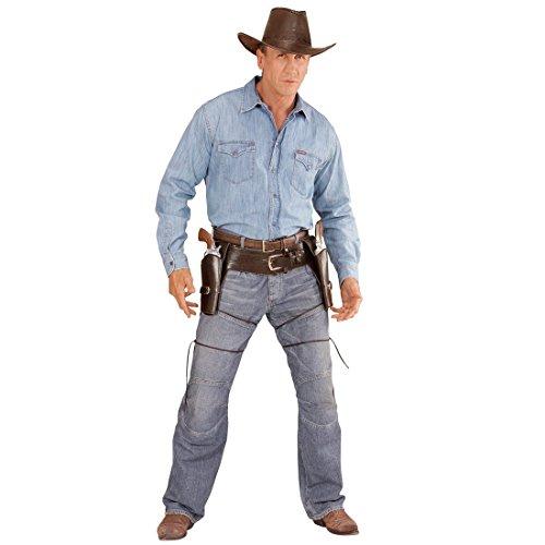 Brauner Western Cowboygürtel mit doppeltem Pistolenholster Sheriff Pistolen Holster Cowboy Gürtel Colt Colttasche Pistole Halterung Pistolenhalterung Waffengürtel Kostüm Zubehör (Pistole Holster Kostüme Zubehör)