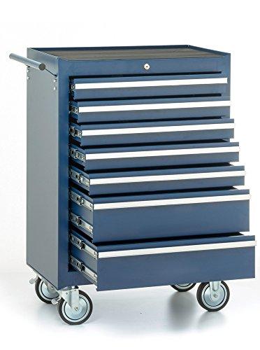 Werkstattwagen, 7 Schubladen, blau, gefüllt mit 15 Werkzeugsätzen - 4