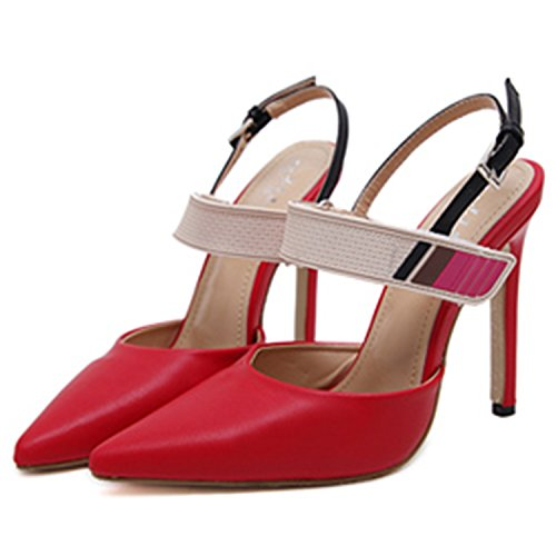 Oasap Women's Pointed Toe Color Block Stiletto Heels Pumps Red