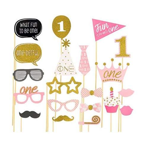 20X Mädchen 1. Geburtstag Photo Booth Props rosa Baby zeigen erste Party Dekoration