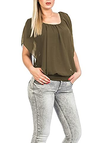 Hochwertiges Damen Shirt Tunika Bluse T-Shirt Top kurzarm , Stark reduziert (Schlamm) (Kostüm Made T Shirts)