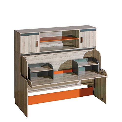 Jugendbett und Schreibtisch mit Aufsatz Ultimo, Schrankbett mit schreibtisch, Wandbett, Funktionsbett für Jugendzimmer (Coimbra Esche / Anthrazit + Orange, ohne Matratze)