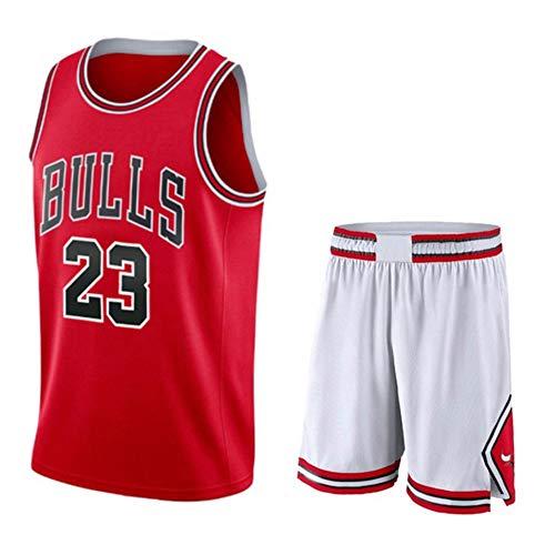 Michael Jordan # 23 Männer Basketball Jersey - NBA Chicago Bulls, ärmellose T-Shirts Jersey Und Shorts,Red(A)-XL