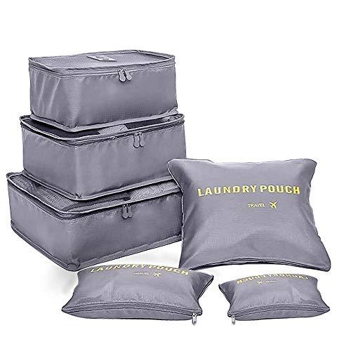 Koffer Organizer unibelin Reise Kleidertaschen Gepäck Organizer 6 Stück Multi Use Kofferorganizer Packtaschen Reisegepäck Kleidertaschen-Set für Kleidung Schuhe Unterwäsche Kosmetik, Grau