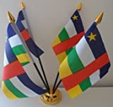Zentralafrikanische Afrika Republik 4Flagge Desktop Tisch mit Gold Boden