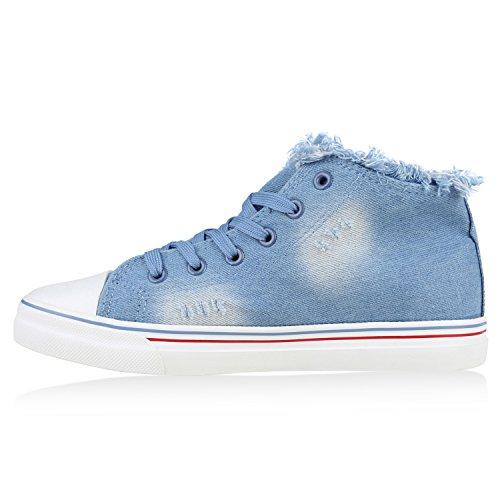 Damen Sneakers High Top Sportschuhe Jeans Denim Patches Hellblau