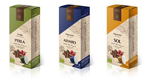 50-Bio-Kaffeekapseln-ALVARO-Espresso-forte-50-Bio-Kaffeekapseln-PERLA-Lungo-Arabica-und-Robusta-50-Bio-Kaffeekapseln-SOL-Espresso-100-Arabica--Alle-3-aus-Peru--Gerstet-in-der-Schweiz--Mit-Nespresso-Ma