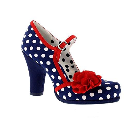 Ruby Shoo Damen Schuhe Hannah Punkte Rosen Pumps Blau 38