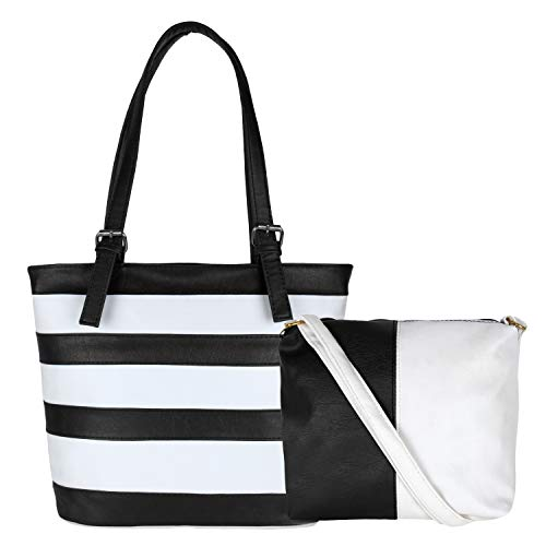 Don Cavalli Women's PU Leather Handbag (White & Black)