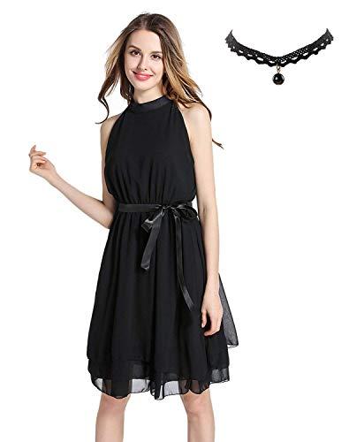 Buoydm semia donna chiffon vestiti a pieghe halterneck senza maniche estivi elegante abito da festa cerimonia-nero, size xxl