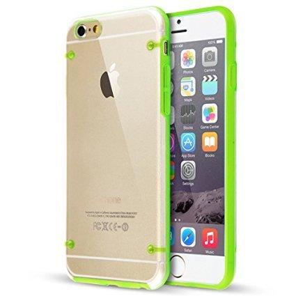 "Invero® Ultra Slim 0.8mm Effacer Retour Hard Cover TPU avec Bumper pour iPhone 6 4.7"" (Pink/Rose) Green/Vert"