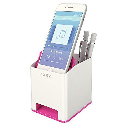 Leitz, Sound Stifteköcher, Soundverstärkungsfunktion, Weiß/Metallic Pink, WOW, 53631023 - 3