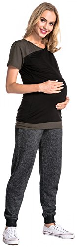 Happy Mama. Damen Umstands Stillzeit T-shirt Lagendesign Kontrastdetails. 011p Schwarz & Khaki