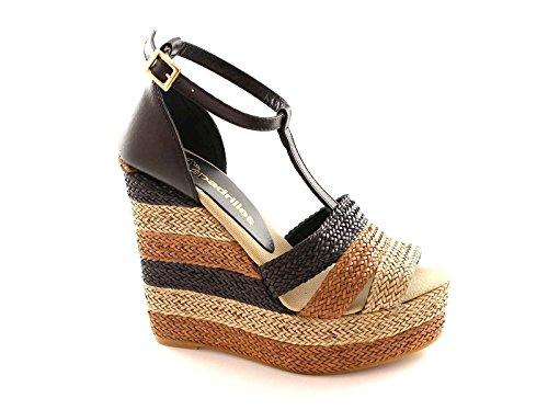 ESPADRILLES OUEST cuir naturel sandales compensées corde femme plateaux Multicolore
