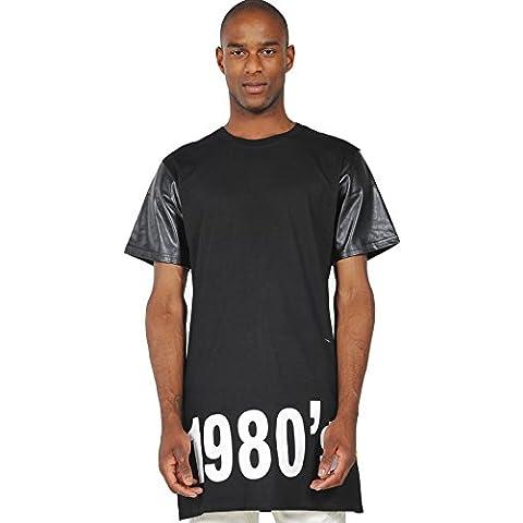 Pizoff T-shirt lunga con inserto in tessuto e zip strisce