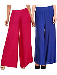 Mango People Products Indian Ethnic Rayon Designer Plain Casual Wear Palazzo Pant For Women's ( Pink And Royal...