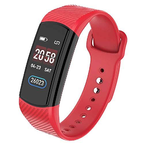 HTTXSBL Sportuhr Fitness Tracker Herzfrequenzerkennung Farbdisplay Bewegung Echtzeitüberwachung IP67 wasserdicht Rouge