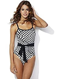 a19fd8163b2 RESORT Black & White Belted Swimsuit. RRP: £32.