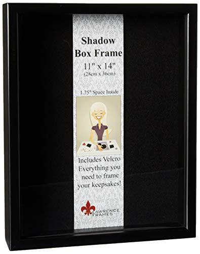 Lawrence Frames 790011 Black Wood Shadow Box Picture Frame, 11 by 14-Inch -
