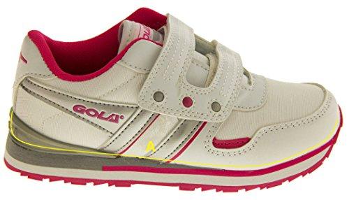 Gola Aka946 Velcro Baskets Sport Décontracté Chaussures Filles Garçons Blanc et rose