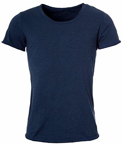 Key Largo Herren Vintage Used Destroyed Look Uni Basic T-Shirt Bread New Round Neck Tiefer Rundhals Ausschnitt Einfarbig T00621, Grösse:3XL, Farbe:Dunkelblau