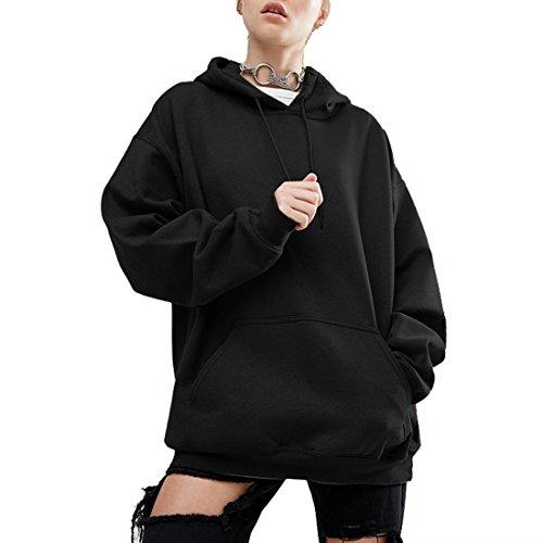 Wenyujh Damen Mädchen Hoodie Pullover mit Kapuze Fledermaus Sweatshirt Mode Casual Streetwear (L, Schwarz)
