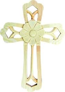 Croce di legno Arrotondata con fiori, altezza 19cm