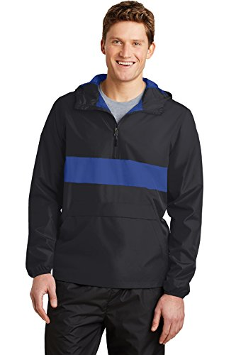 Sport-Tek® Zipped Pocket Anorak. JST65 Black/ True Royal 2XL (Sport-tek Anorak)