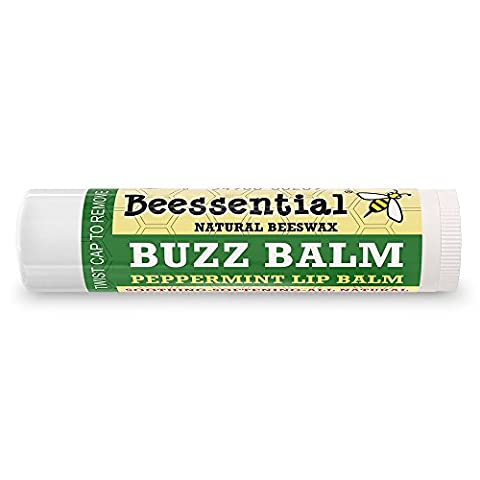 Beessential All Natural Peppermint Lip Balm (Buzz Balm) 2 pack - Heals and Prevents Dry and Chapped Lips - Great for Men, Women, and Children - Moisturizing Beeswax, Coconut, Shea and Cupuacu Butter by Beessential