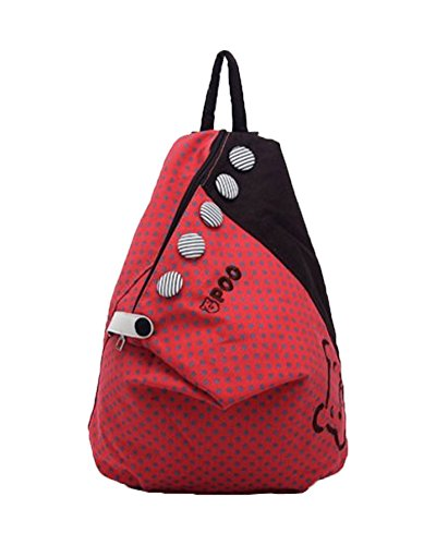 andyshi Mädchen Dot Leinwand Casual Daypacks Bag Rucksack rot - rot