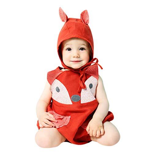 DIASTR Kinder Baby Tier Kostüme Tieroutfit Cosplay Jumpsuit Schlafanzug Mädchen Jungen Sommer Nachtwäsche Strampler Fox Körpergröße (3-24monat)