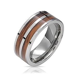 Bling Jewelry Zweireihige Koa Holz Inlay Ehering Ringe Tungsten Ringe Für Herren Für Damen Silber Ton Comfort Fit 8MM