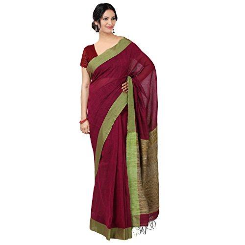 The Weave Traveller Women'S Dark Green Handloom Cotton Saree With Ghicha Palluthe...