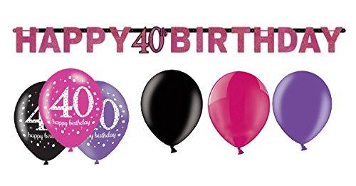Feste Feiern Geburtstagsdeko 40. Geburtstag I 7 Teile Deko-Set Luftballon Girlande Pink Schwarz Violett Party Deko Happy Birthday 40