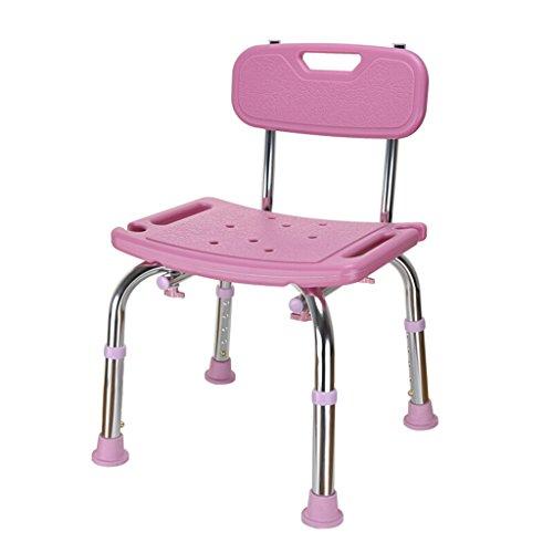 LXN Deluxe höhenverstellbare Aluminium Badewanne/Duschstuhl mit Rücken- und Duschkopf Halter-Anwendbar für ältere Menschen, schwangere Frauen, Behinderte (Farbe : Pink) -