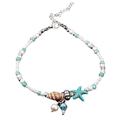 Preisvergleich Produktbild Moonuy Damen Accessoires Shell Strand Fuß Kette Muschel Sandale Fußkettchen Perlen Armband Schmuck Muscheln Strand Fuß Kette Fuß Kette Perlen Armband (B)