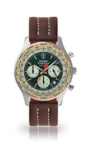 DETOMASO Firenze Herren-Armbanduhr Chronograph Analog Quarz silbernes Edelstahlgehäuse grünes Zifferblatt (Leder - Braun (Naht: Weiß))