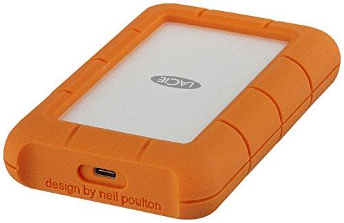 LaCie STFR2000403 externe All-Terrain Festplatte Rugged Secure mit USB-C Anschluss Orange