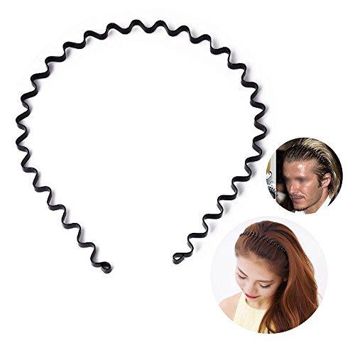 Srowenta Unisex Schwarz Feder gewellt Metall Haar Hoop Band Herren Frauen Sport-Stirnband Headware Zubehör