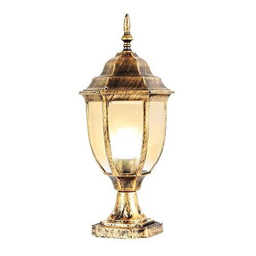 Xungel Europäische Edison Patio Spalte Lampe Rasen Lichter wasserdicht Metall Aluminium Outdoor-Desktop-Leuchte E27 traditionelle Victoria Glas Landschaft Säule Laterne ( Color : Bronze ) -