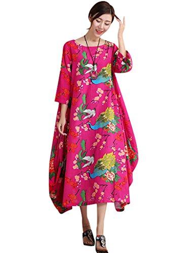 Youlee Frauen Herbst Blumenmuster Unregelmäßige Hem Baumwolle Leinen Kleid Rosa Fit EU 42-48