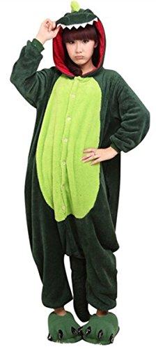 WOWcosplay Jumpsuit Tier Cartoon Fasching Halloween Kost¨¹m Sleepsuit Cosplay Fleece-Overall Pyjama Schlafanzug Erwachsene Unisex Kigurumi Tier Onesize,Dinosaurier S