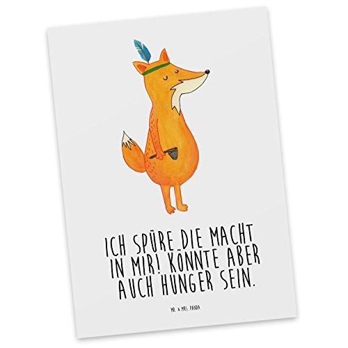 Mr. & Mrs. Panda Postkarte Fuchs Indianer - 100% handmade & handbedruckt - Indianer, Fuchs, Füchse, Fox, Fux, Hunger, Spüre die Macht, Spruch, lustig, witzig, Abenteuer, Abenteurer Postkarte, Postkarten, Einladungskarte, Geschenkkarte, Brief, Kärtchen, Geschenk, Karte, Papier, Einladung Indianer, Fuchs, Füchse, Fox, Fux, Hunger, Spüre die Macht, Spruch, lustig, witzig, Abenteuer, Abenteurer