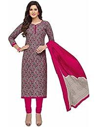 Miraan Women's Cotton Dress Material (Band1608_Grey_Free Size)