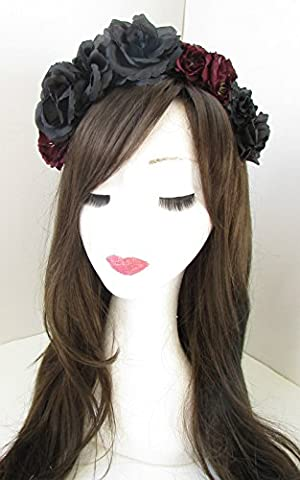 Noir & Rouge Bordeaux Rose cheveux fleur couronne bandeau Festival gothique lolita x-49* * * * * * * * exclusivement vendu par–Beauté * * * * * * * *