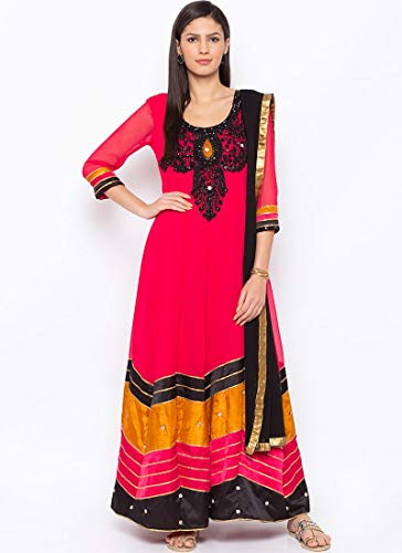 Maple Fashions Miraculous Aufgestickter Kunstgeorgette, Hot Pink, hot pink, XXXX-Large Chiffon Churidar