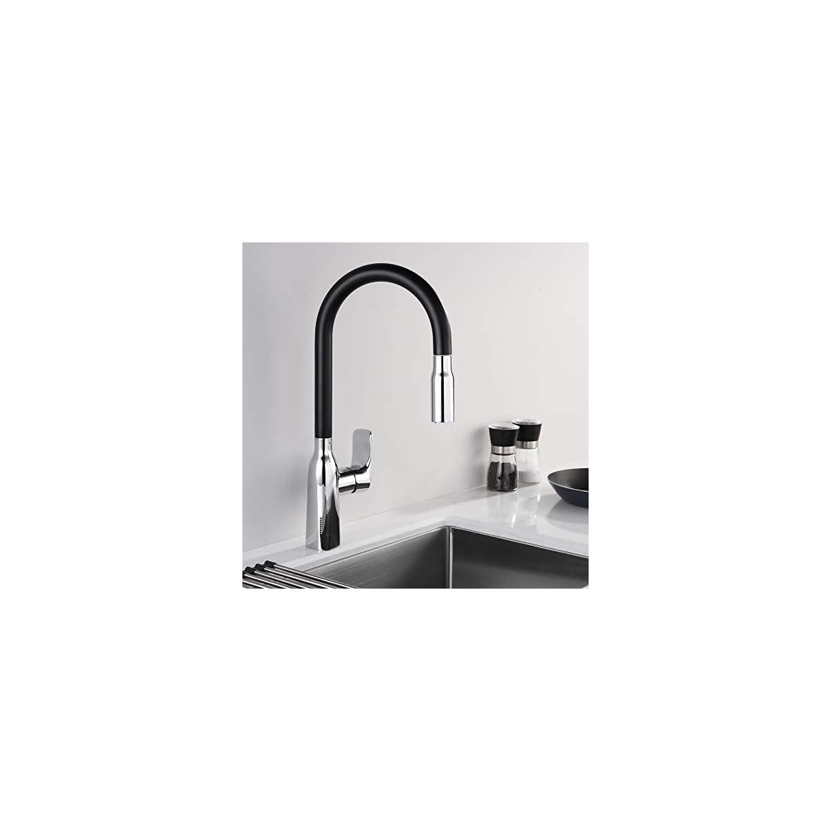 41Oi22mPwbL. SS1200  - Homelody Grifo de Cocina Extraíble Color Negro con Aireador Desmontable Grifo para Fregadero de Cocina con Diseño Moderno Giratorio a 360°